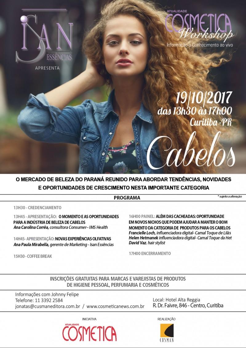 19 de outubro, quinta-feira: influenciadoras digitais. Venha debater junto com o mercado de perfumaria e produtos para pele no Atualidade Cosmética Workshop em Curitiba.