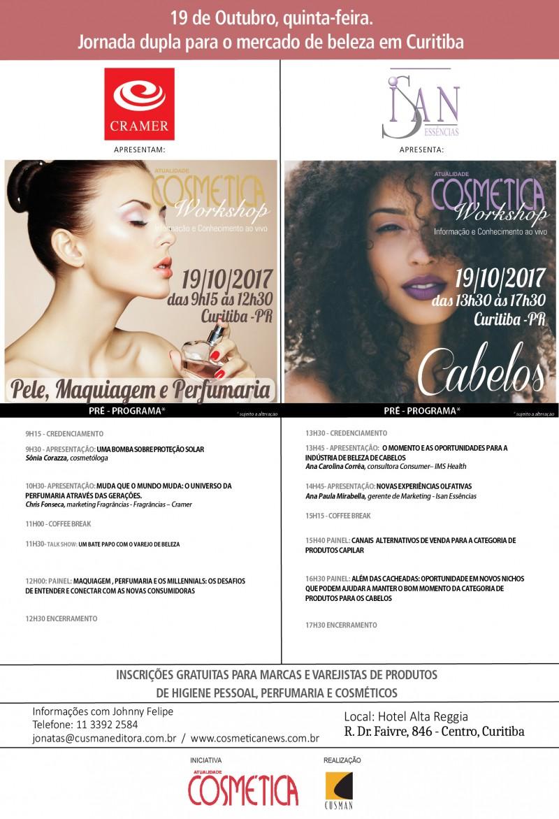 19 de Outubro, quinta-feira.  Jornada dupla para o mercado de beleza em Curitiba