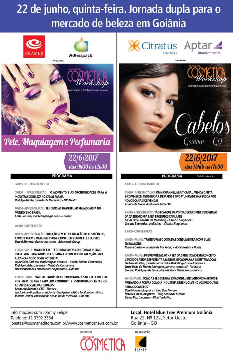 22 de junho quinta-feira em Goiânia, Atualidade Cosmética Workshop. Inscrições gratuitas para profissionais da indústria cosmética.