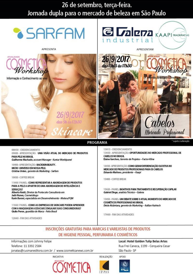 26 de setembro, terça-feira em São Paulo, Atualidade Cosmética Workshop. Inscrições gratuitas para profissionais da indústria cosmética.