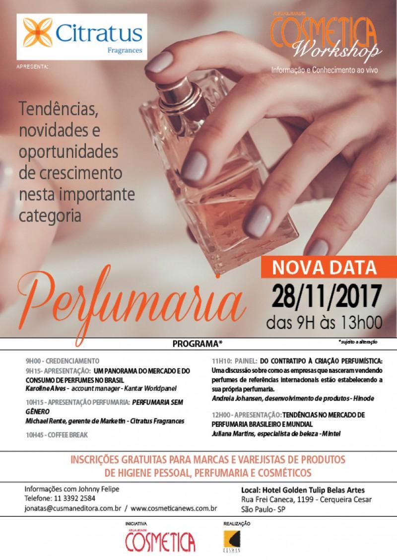 28 de novembro, terça-feira em São Paulo, Atualidade Cosmética Workshop Perfumaria. Inscrições gratuitas para profissionais da indústria cosmética.