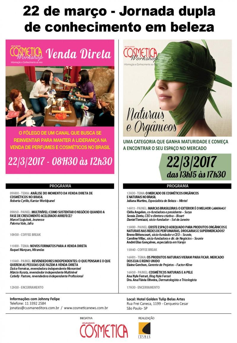 Atualidade Cosmética Workshop 22 de Março - Jornada Dupla. Participe!