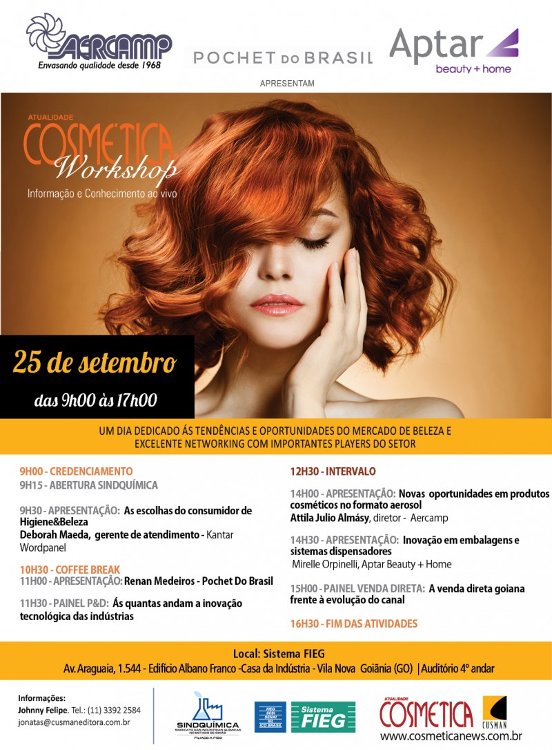 Atualidade Cosmética Workshop em Goiânia (GO) dia 25 de setembro