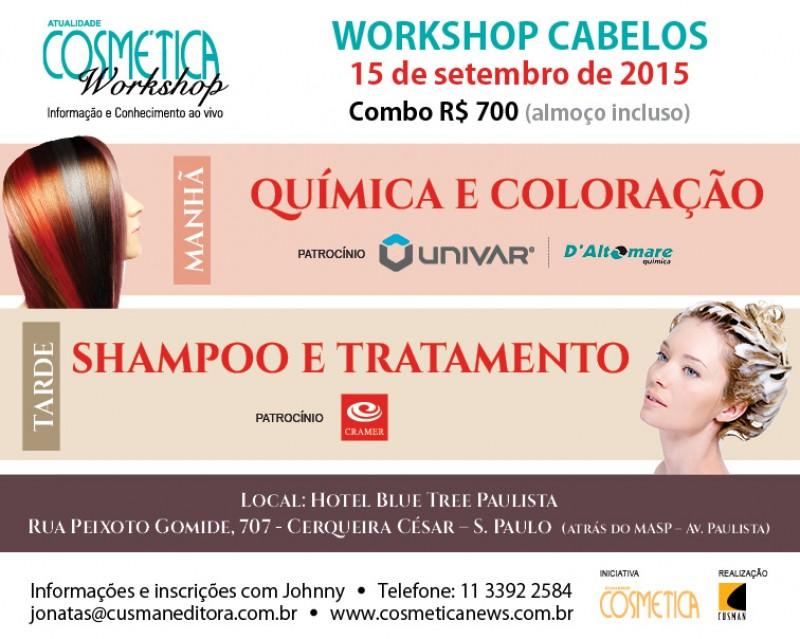 COMBO ATUALIDADE COSM�TICA WORKSHOP  - CABELOS - SHAMPOO E TRATAMENTO/QU�MICA E COLOCA��O