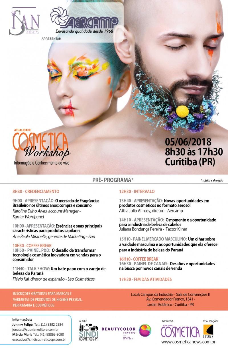 Dia 05 de junho, Atualidade Cosmética Workshop edição Curitiba (PR)