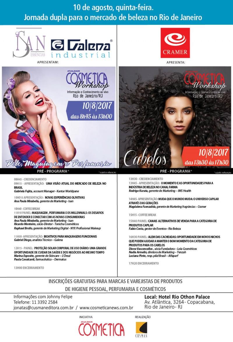 Dia 10 de agosto, quinta-feira: jornada dupla para o mercado de beleza no Rio de Janeiro