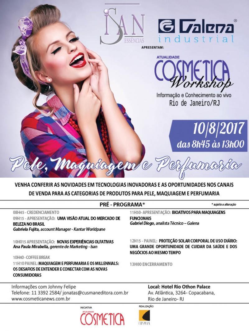Dia 10 de agosto: Rio de Janeiro será palco de grandes discussões sobre o mercado de beleza brasileiro. Atualidade Cosmética Workshop