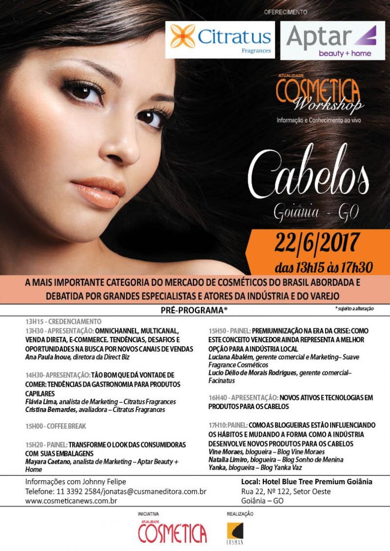Dia 22 de Junho em Goiânia, Atualidade Cosmética Workshop. Debatendo o mercado de produtos para os cabelos sobre diferentes ângulos.