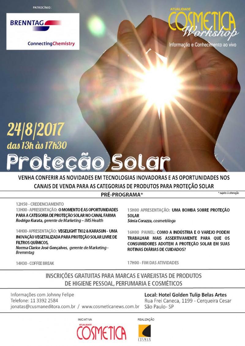 Dia 24 de agosto, São Paulo. Atualidade Cosmética Workshop - Proteção Solar