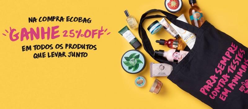 Ecobag da The Body Shop garante 25% de desconto na compra de produtos da marca