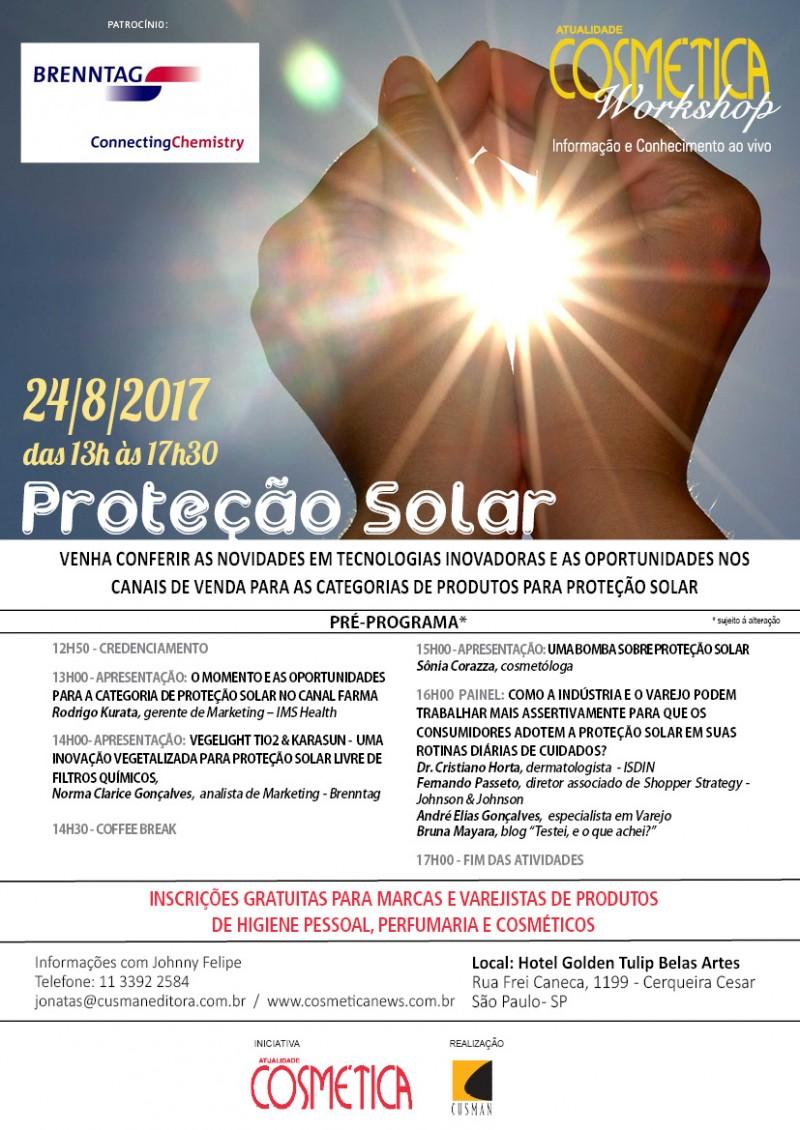 Nesta quinta-feira em São Paulo, Atualidade Cosmética Workshop. Venha se atualizar e debater os desafios e oportunidades na categoria de Proteção Solar