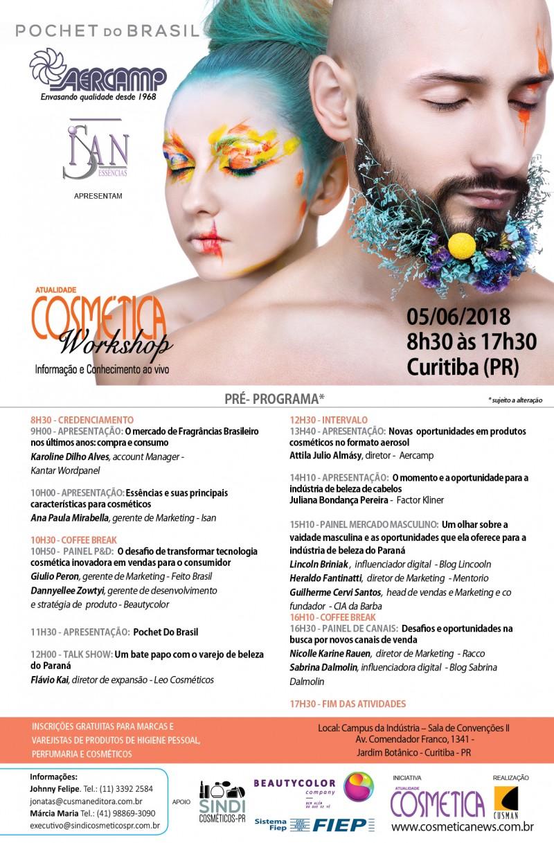Nesta terça dia 05 de junho, Atualidade Cosmética Workshop edição Curitiba (PR)