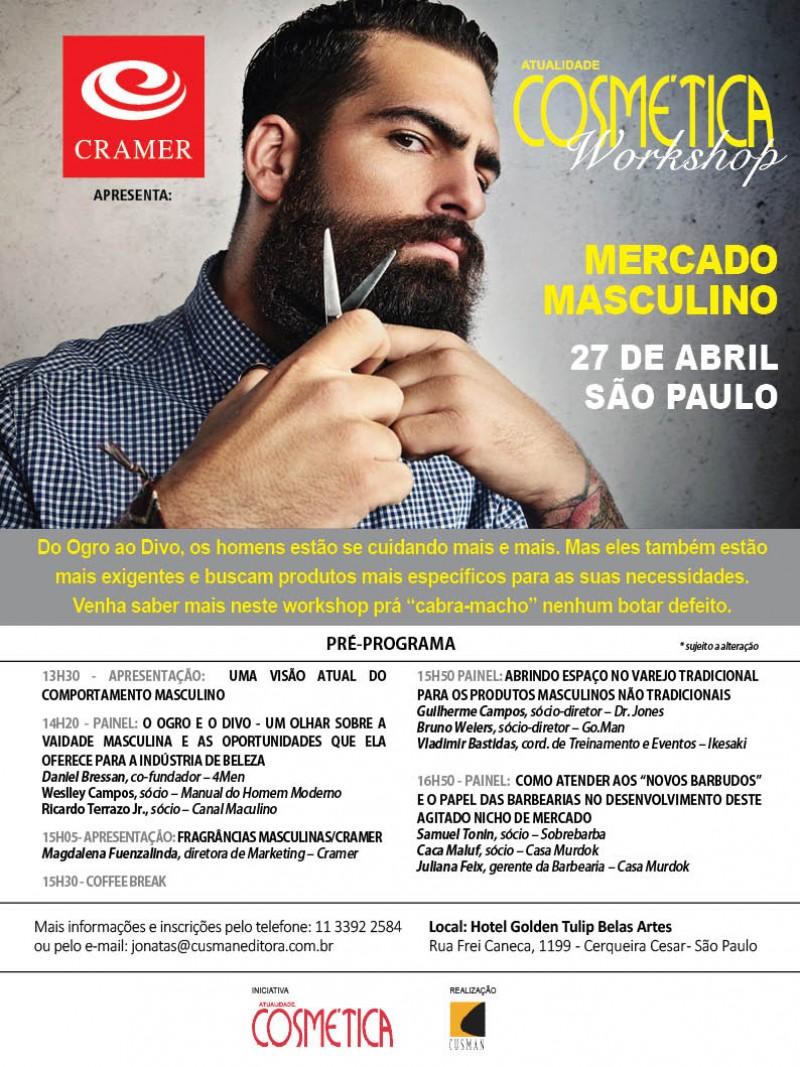 O mercado masculino em discussão: Atualidade Cosmética Workshop. 07 de Abril São Paulo
