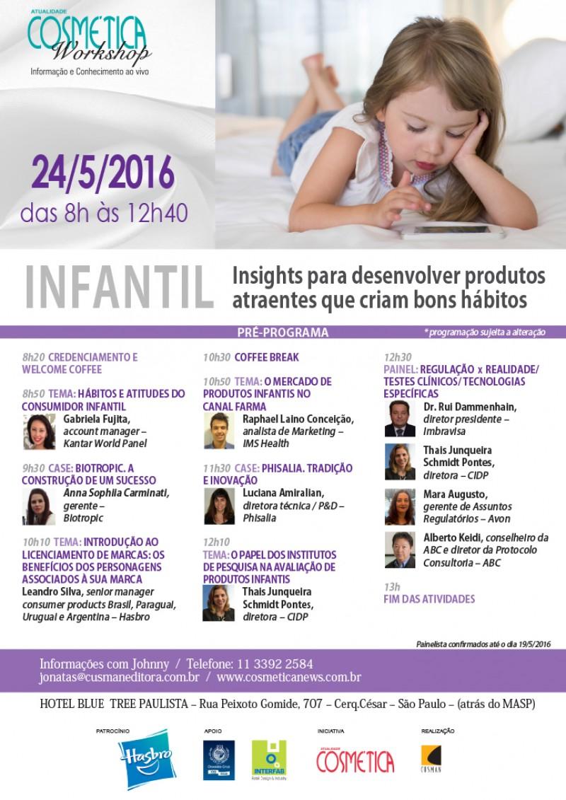 Workshop Atualidade Cosm�tica debate mercado de cosm�ticos infantis, na pr�xima ter�a-feira, em S�o Paulo